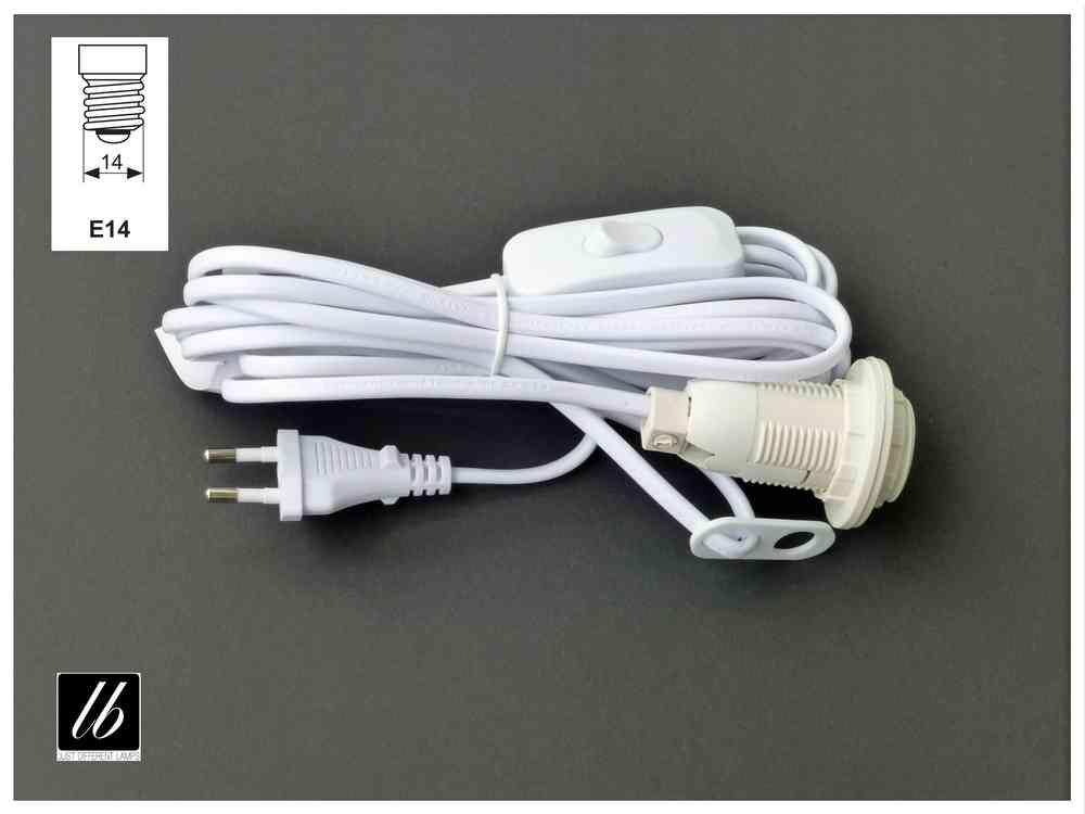 Anschlusskabel weiß mit E14-Fassung, Schalter und 4m Kabel - light blue